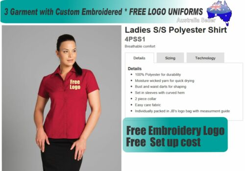 3 Cus JB Ladies Blouses with Your Embroidered FREE YOUR LOGO 476