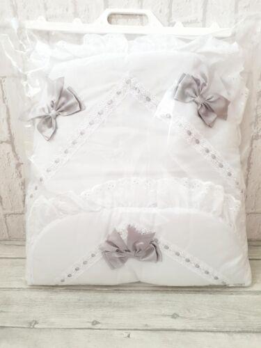 Baby Girls White /& Grey Luxury Large Ribbon Foot Muff Cosy Toes Pram Nest