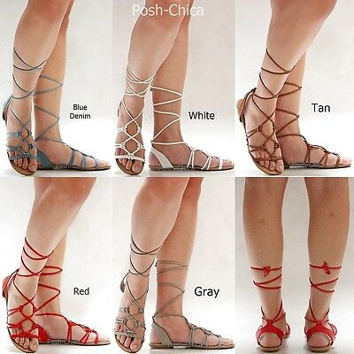 New Women CTre Red Tan Gray Blue Gladiator Wrap Lace Up Flat Sandals size 5.5-11