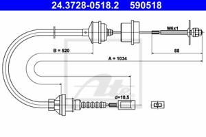 Seilzug Kupplungsbetätigung ATE 24.3728-0518.2