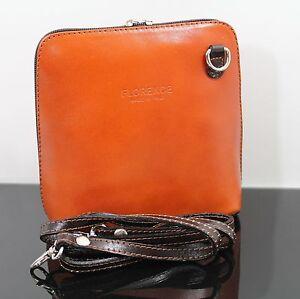 Details zu Made In Italy ECHT LEDER Tasche Handtasche Florence Clutch Handtasche Cognac