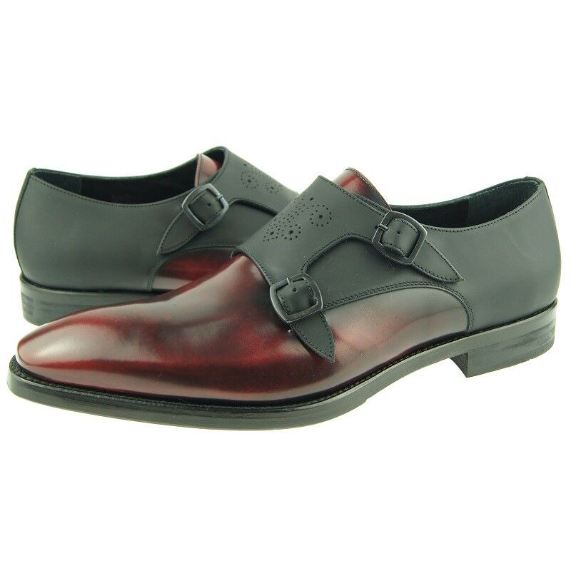 Lorens  Carlos  Double Monk, Men's Dress Leather shoes, Red Black, Spain