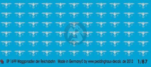 DRB German Railway Wagon Eagle Markings WWII Peddinghaus 1//87 Silver HO 1699