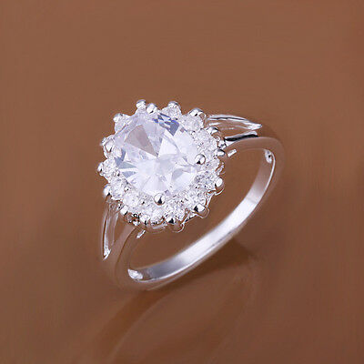 Free Shipping Whoelsale Sterling Solid Silver With Crystal RING DAR145 +box