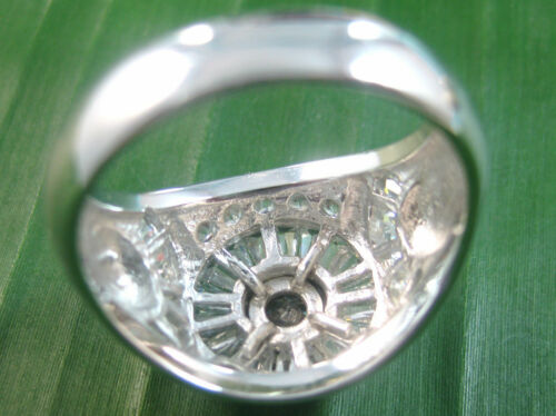 REAL 925 sterling silver bezel White ROUND CZ Men/'s Dress Ring size Q S T U V X