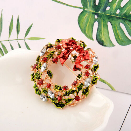 Fashion Christmas Tree Snowman Crystal Brooch Pin Xmas Party Brooch YU