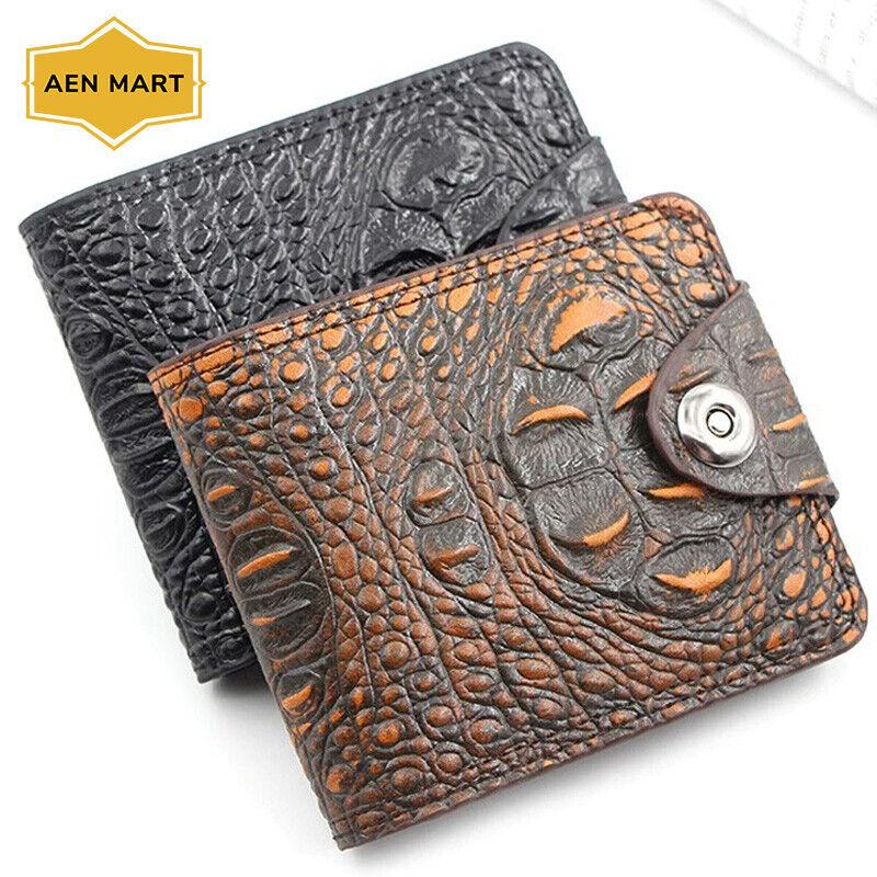 Vintage Crocodile Wallet Genuine Leather Men Coin Purse Casual Alligator Pattern
