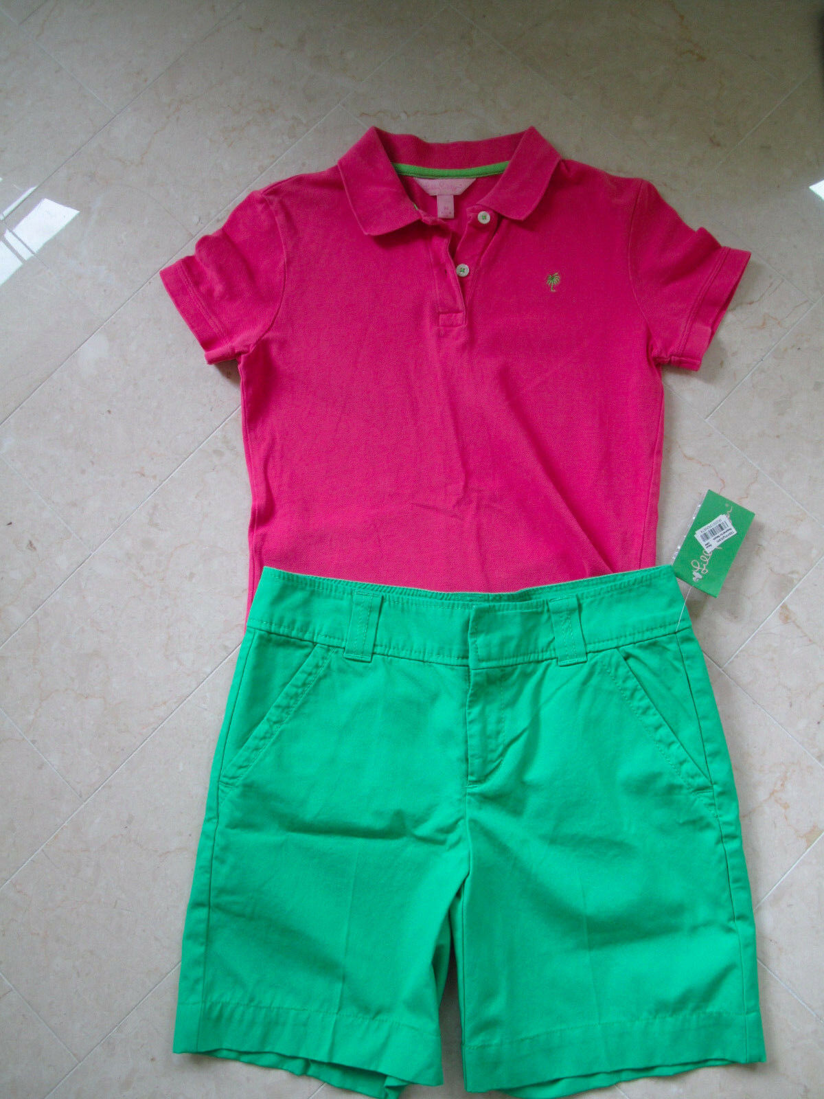 Lilly Pulitzer pink polo shirt and green short set NWT SIze XS