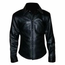 New Men's Collared Police Uniform Shirt Genuine Soft Lambskin Black Leather