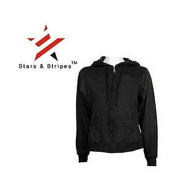 Urban Stars /& Stripes Black Zipped Fitted Gothic Hoodie Hooded Top