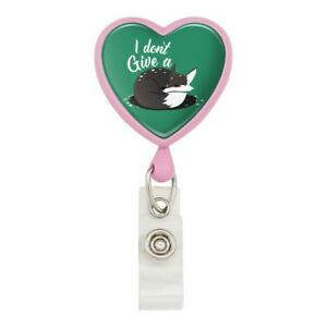 Black-Fox-I-Don-039-t-Give-A-Pun-Heart-Lanyard-Retractable-Reel-Badge-ID-Card-Holder