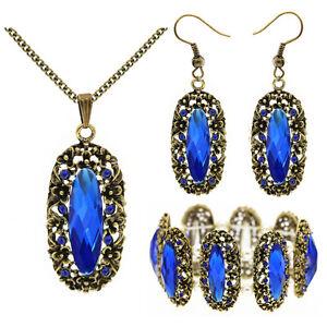 Vintage-Stil-blau-antik-gold-Schmuckset-Ohrringe-Halskette-Armband-S920