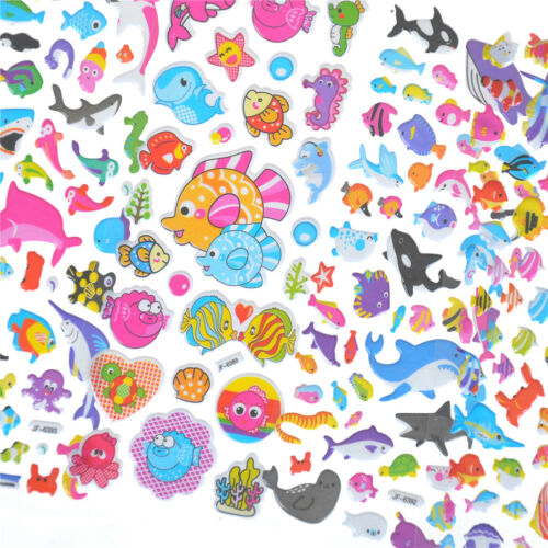 5 Sheets Cute Fishes Bubble Stickers Cartoon Scrapbooking Stickers SE