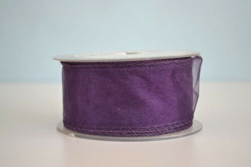 Plum Organza Ribbon Full Reel or Cut Lengths 50mm x 20m 10mm x 50 yards