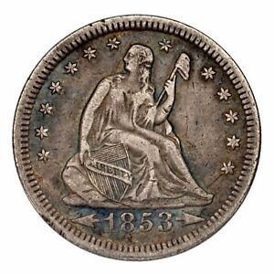 1853 Silver Seated Liberty Quarter Arrows & Rays 25C (Extra Fine, XF Condition)