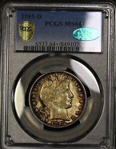 PCGS-MS64-CAC-1915-D-Barber-Half-Dollar-50c-Trueview-Toned-PQ-Registry-Lustrous