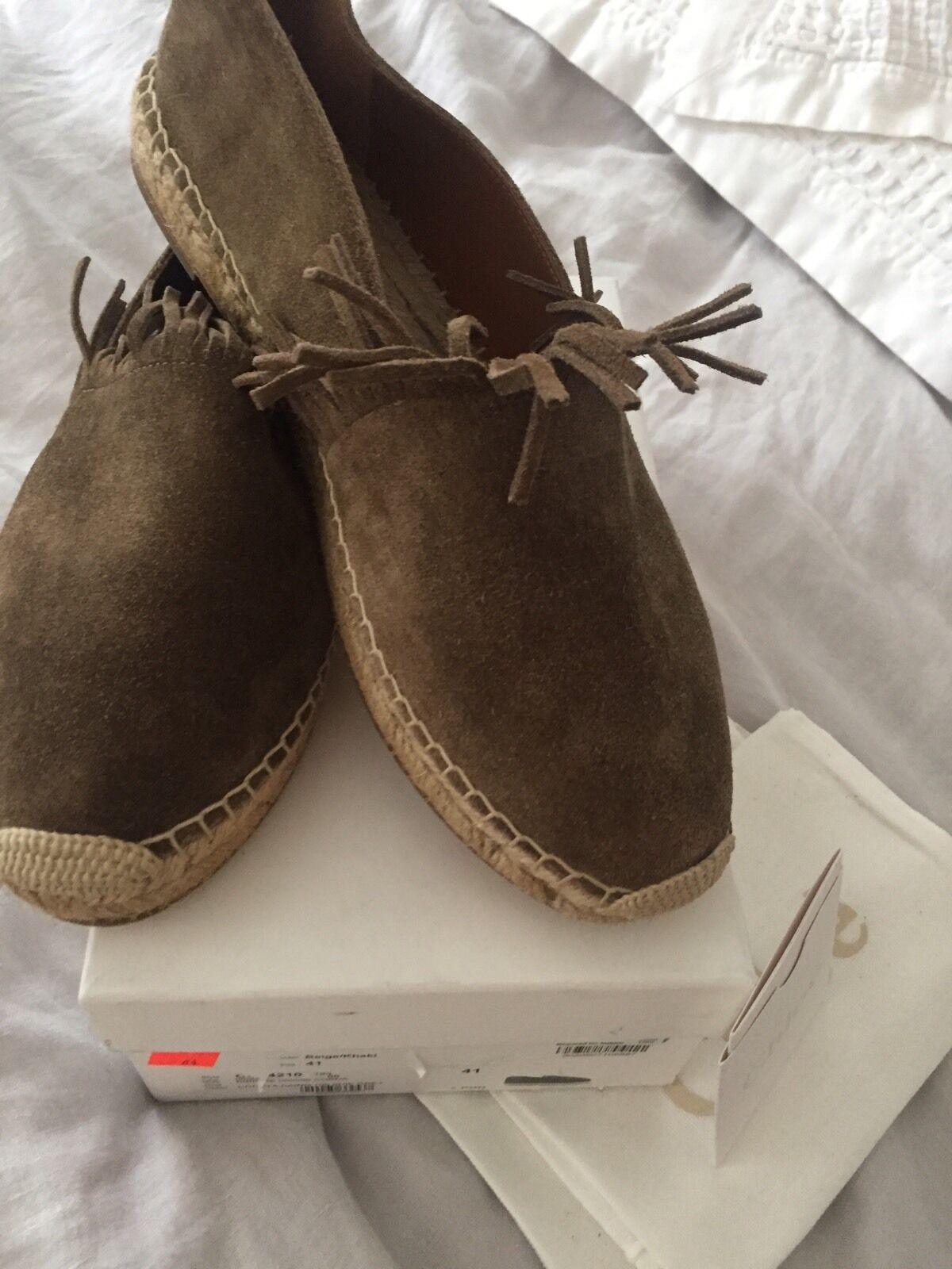 Chloe, Fringed Suede Espadrilles in Beige Khaki, Size 41 Brand New