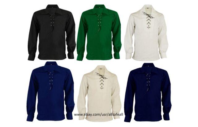 XS TO 5XL White Men/'s Scottish Jacobite Ghillie Kilt Shirt Highlad Kilt Shirt