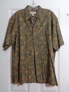 Tori-Richard-Men-039-s-Shirt-Hawaiian-Camp-Multi-Color-Green-Floral-Size-Large