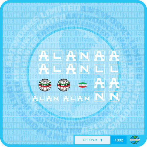 White Alan Bicycle Decals Transfers Stickers Set 1