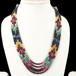 5-Strands-Natural-Emerald-Ruby-Sapphire-Finest-Quality-Necklace-Certified