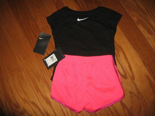 Nike Girls Toddler 4T Black Pink Swoosh Mesh Shorts Short Pants Summer NWT