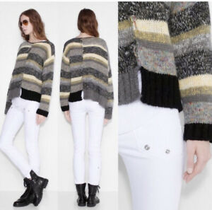 Zadig-amp-Voltaire-Jemma-Multi-Color-Striped-Knit-Wool-Blend-Sweater-Size-S-388