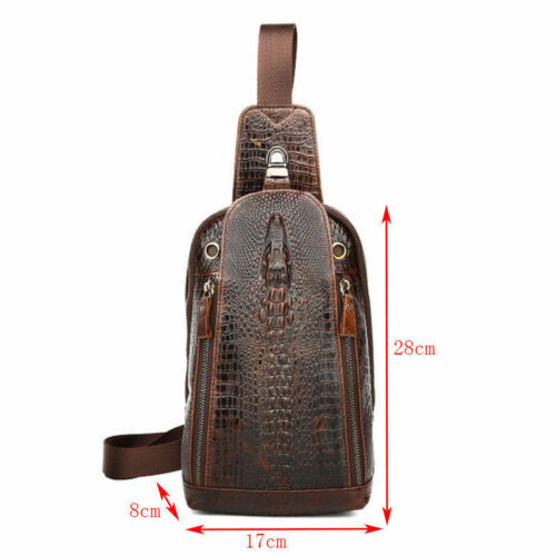 Sling Shoulder Back Pack Genuine Leather Crocodile Grain Men Messenger Chest Bag