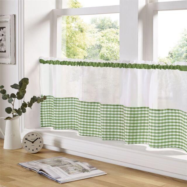 vert et blanc vichy 150cm x 45.7cm – 150cm X 45cm cuisine café panneau-rideau
