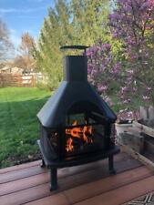 Patio Fire Pit Suntree 59-Inch Steel Real Wood Burning Chiminea Outdoor Backyard