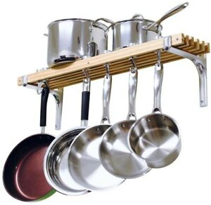 Image Is Loading Wooden Wall Mounted Pot Rack 36 In 4