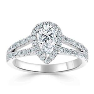 2.00 Ct Pear Cut Genuine Moissanite Wedding Ring 14K Solid White Gold Size 4.5