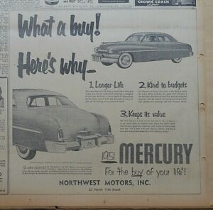 1951 newspaper ad for Mercury - Here's Why What A Buy! 3 Reasons, 1951 Mercury