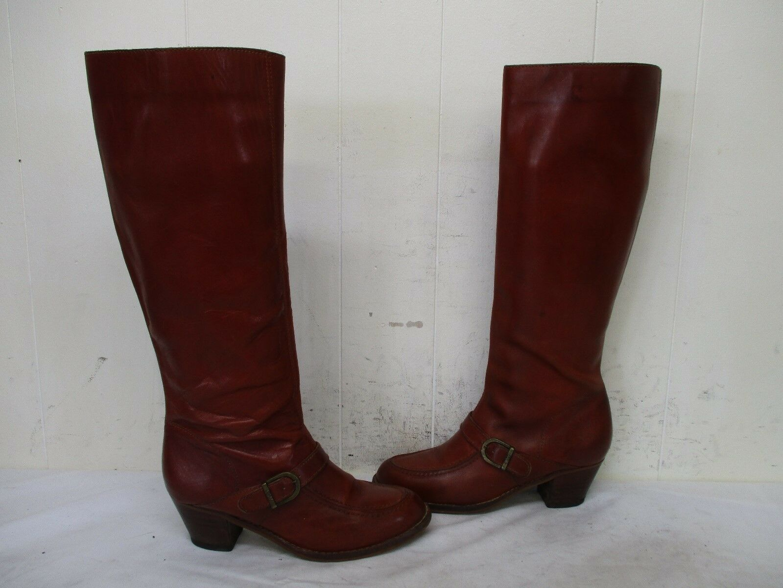 Jessi Brown Leather Zip Knee High Moc Toe Riding Boots Womens Size 7 B