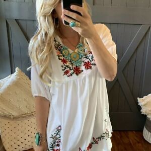 NWT-Bohemian-Floral-Embroidered-White-Tunic-Top-Dress-Cotton-Sizes-M-XL