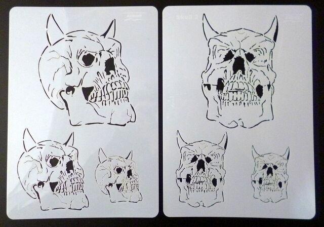 "2 Schablonen A4 Airbrush "" Skull Set Totenkopf Harder & Steenbeck (410135)"