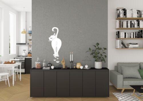 Gato Caminando con pata huellas Inspirado Diseño Dormitorio Pared Arte Calcomanía Vinilo Sticker