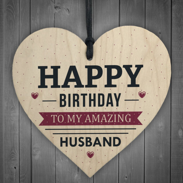 Happy Birthday Husband Wife Hubby Partner Wooden Heart Plaque Card Gift For Him