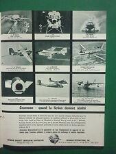 1961 PUB GRUMMAN AIRCRAFT OV-1 MOHAWK ALBATROSS DENISON LEM ORIGINAL FRENCH AD