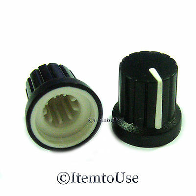 10 Pcs Knob Black with White Mark Pointer for Potentiometer Pot - Free Shipping