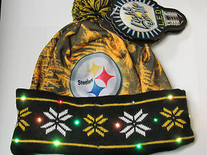 e12debeee59 Pittsburgh Steelers LOGO LED Light up Hat Winter Pom Beanie Knit Cap ...