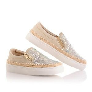 Neu Damen glänzende Slip On Sneakers Sportschuhe Turnschuhe