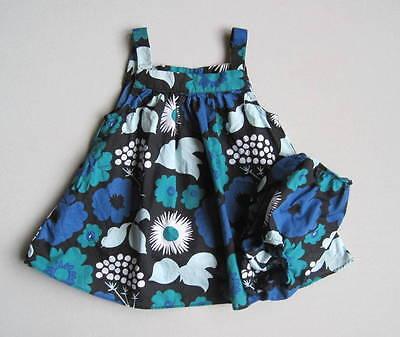 Marimekko for Target Girls 9 Mo Black Blue Floral Kukkatori Print Dress Set EUC