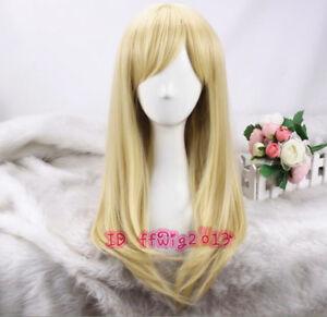 LOL KDA Ahri Cosplay Wig Long Straight Blonde Gold Hair Women Wig + a wig cap