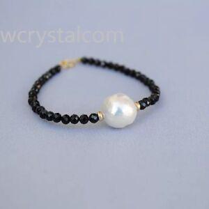 Natural-Black-Spinel-facet-4mm-White-Kasumi-Pearl-Single-Strand-Bracelet