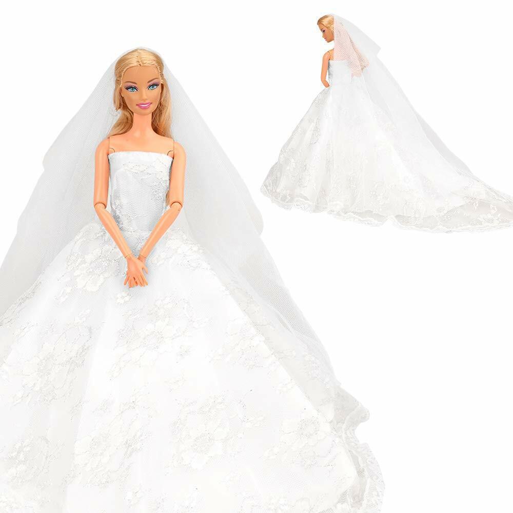 Abendkleid Spitze Brautschleier Hochzeitskleid für Barbie Dolln