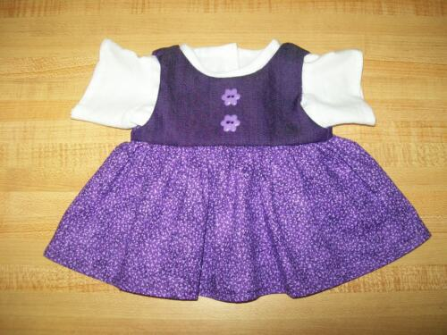 """2 PC OUTFIT WHITE TEE SHIRT PURPLE+PRINT JUMPER for 14/"""" CPK Cabbage Patch Kids"""