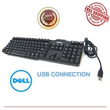 BLACK DELL USB WIRE KEYBOARD L100 OR SK-8115 Genuine OEM