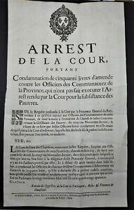 AFFICHE-PLACARD-1694-Arrest-de-la-Cour-Subsistance-des-Pauvres-Condamnation-50-L