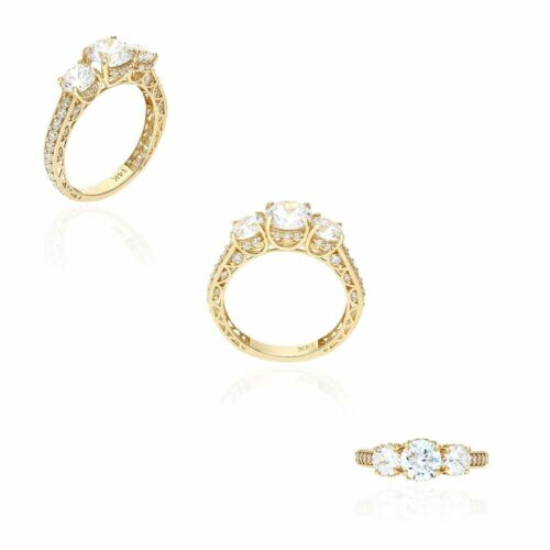 2.75CT Created Diamond Vintage 3 Stone Engagement Antique Ring 14K Yellow Gold